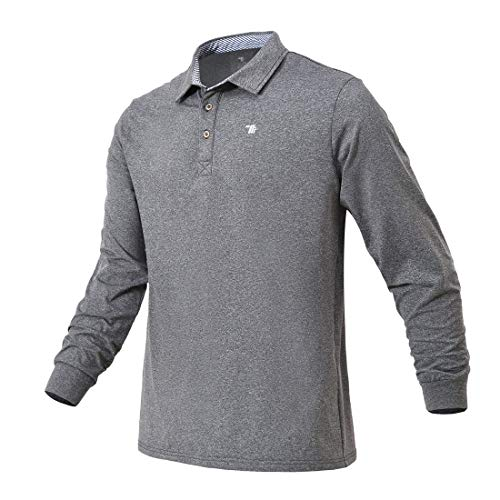 donhobo Poloshirts Herren Basic Langarm Golf T-Shirt Fleece Polohemd Männer Warm Atmungsaktive Polokragen Pullover Langarmshirts Grau XL