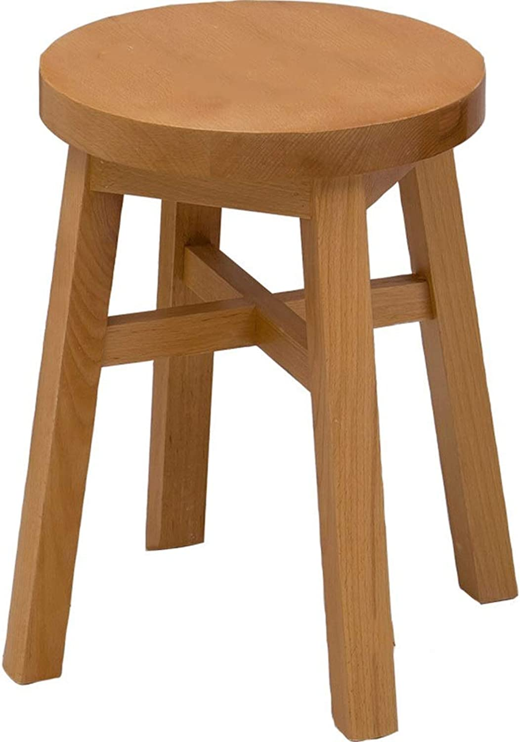 Solid Wooden Stool, Beech Stool, Simple Stool, Dining Table Stool, Household Wooden Stool (color   Brown)