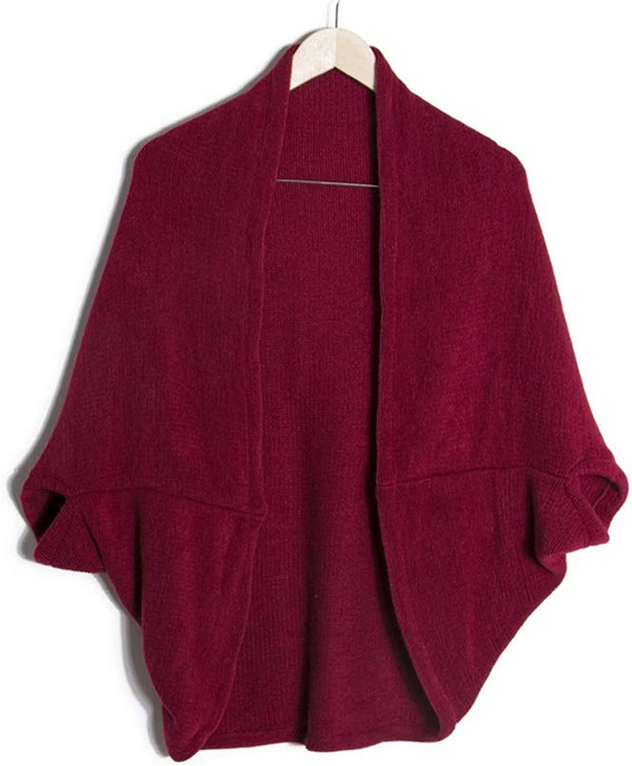 Women's Acrylic Shawl Warm Cloak for Autumn and Winter (color   Wine red)