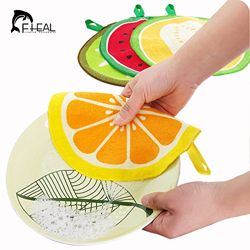 Generic naranja: fheal frutas patrón toalla absorbente paño de limpieza toalla de...
