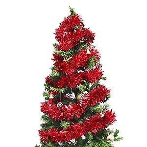 BELLE VOUS Oropel (3 Piezas) 3 Metros Cada Una Adorno Navideño Guirnalda Oropel Rojo Árbol de Navidad - Espumillón Decoraciones de Navidad para Paredes, Ventanas, Escaleras, Pasamanos, Fiestas