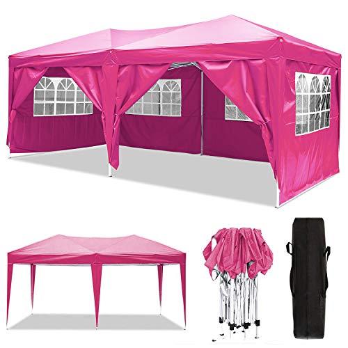 3x3m / 3x6m Pavillon, wasserdichter Gartenpavillon mit 4 Seitenwänden, verstellbares Festzelt mit Tragetasche, pulverbeschichteter Stahlrahmen für Strand / Sofortunterkunft / Flohmarkt / Camping P
