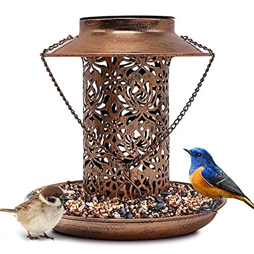 WUBAILI 2021 El Más Nuevo Alimentador De Pájaros De Energía Solar Colgante para La Decoración del Jardín, Linterna De Bronce Impermeable Al Aire Libre Luz Nocturna