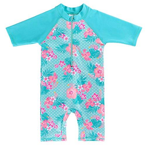 HUAANIUE Kleine Meisjes UPF 50+ UV Een Stuk Bloem Zwemkleding Bodysuit met Rits 2-10 Jaar