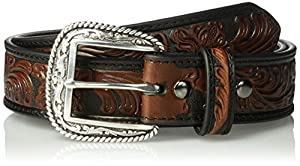 Ariat Men's Black & Brown Floral Basic Belt, brown, 42