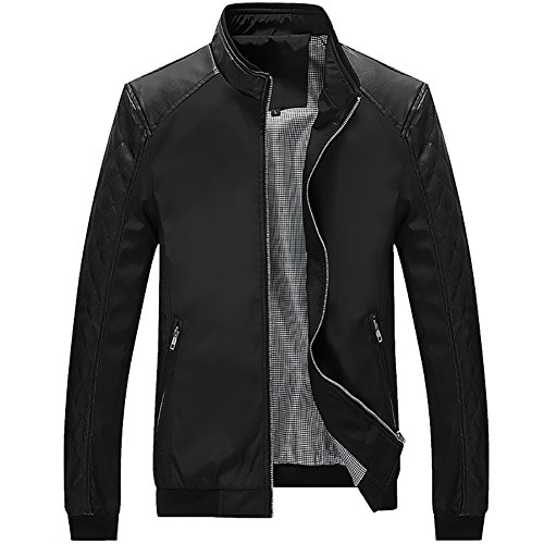 Kolongvangie Faux Leather Stand Up Collar Winter Long Sleeve Jacket Slim Fit Mens Apparel Black
