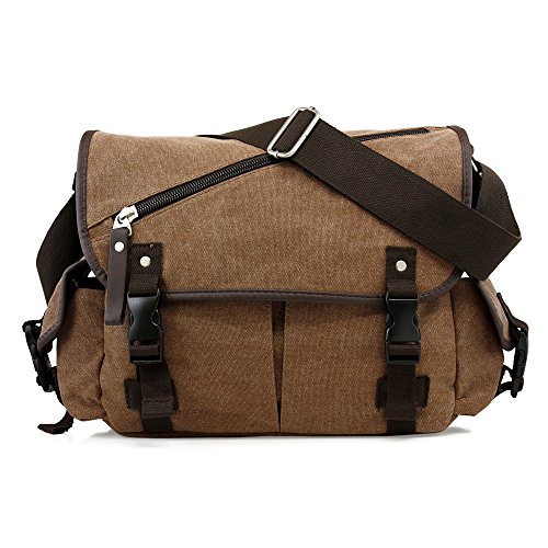 Oct17 Men Messenger Bag School Shoulder Canvas Vintage Crossbody Military Satchel Bag Laptop Coffee