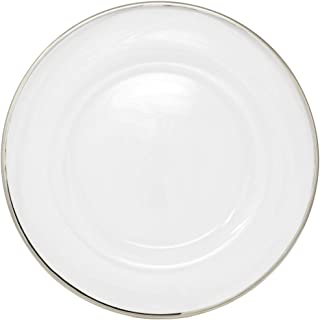 Clear Glass Charger 13 Inch Dinner Plate With 0.5 CM Metallic Rim - Set of 4 - Silver