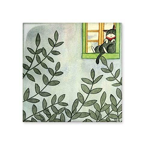 DIYthinker Miaoji Schilderij aquarel kat buiten venster glanzende keramische tegel badkamer keuken muur steen decoratie ambachtelijke gift Medium