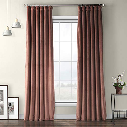 HPD Half Price Drapes VPYC-161234-96 Plush Velvet Curtain (1 Panel), 50 X 96, Wild Rose