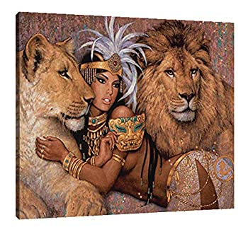 Genwo11jiusi Contemporary Africa American Women and Lions Wall Art Abstract Graffiti Portrait Art Paintings Prints On Canvas Framed for Living Room Bedroom Home Decor