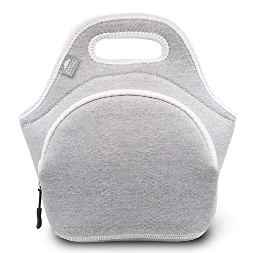 Nordic By Nature Neoprene Lunch Bag for Women & Lunch tote for Kids Insulated Lunch bag Reusable Washable Extra Thick Neoprene & Soft Cotton Feel, Premium Stitching, Outside Pocket, (M) Light Gray