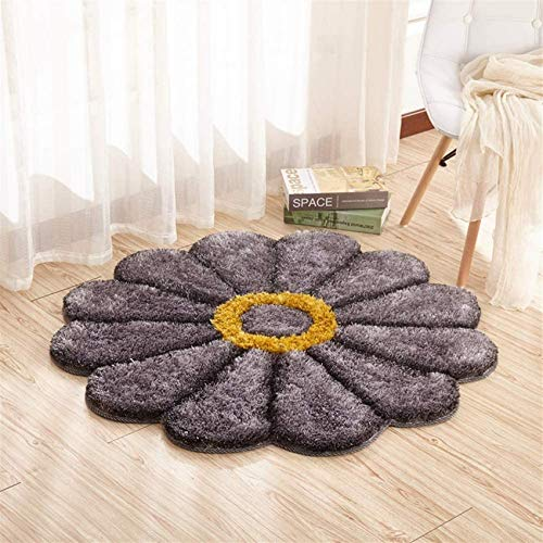WGFGXQ Floral Design Rugs Shaggy Area Rugs Bedroom Area Modern Living Room Rugs 3D Floral Rug Orange Soft Shaggy Rug Diameter: 120cm (47.2 ''1#