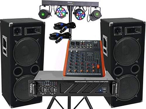 Komplett Set-9 Power Anlage LED Licht Musikanlage DJ 2400 Watt 4x30cm