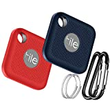Silicone Case for Tile Pro (2020 & 2018), 2 Pack Cover Case Anti-Scratch Lightweight Soft Full Body Shock ProtectiveUltra Slim Skin for Tile Pro Bluetooth Anti-Loss with Carabiner(Blue & Red)