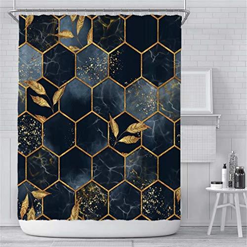 Marmor-Duschvorhang für Badezimmer, marineblau, geometrisches Goldkariert, Stoff, Duschvorhang, moderne Luxus-Textur, Badezimmer-Vorhang-Set, wasserdicht, waschbar, 183 x 183 cm