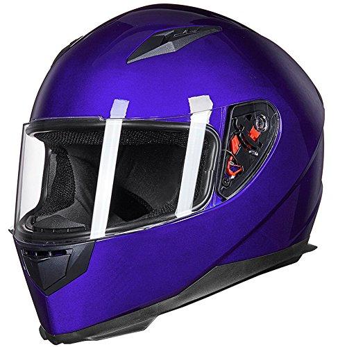 ILM Full Face Motorcycle Street Bike Helmet with Removable Winter Neck Scarf + 2 Visors DOT (L, White)