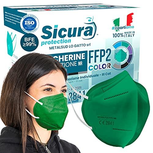 20x FFP2 Maske Grüne Farbe CE Zertifiziert Filterklasse BFE ≥99% FFP2 Masken SANITIZIERTE und Einzeln versiegelte ISO 13485 Atemschutzmaske CE Hergestellt verpackt in Italien