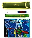 Kindergartenflöte Set: Blockflöte (Grün) mit Tasche, Wischer und Voggy's Kindergarten-Flötenschule: Lernheft für Kinder ab 4 Jahre