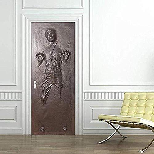 MSSDEBZ 3D Türaufkleber Wandbild Türtapete Selbstklebend Han Solo Carbonite Decal Home DesignSonderanfertigung-90x200cm/36x80In