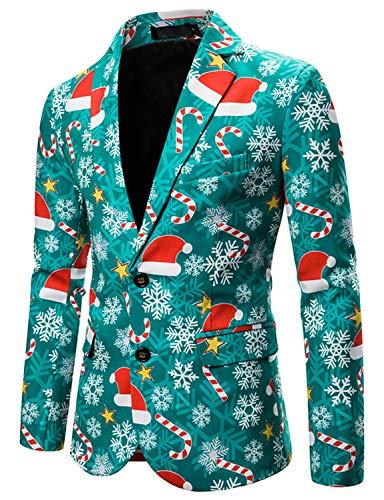 WATLEES Kerst Kostuum Suit Jas Xmas Print Blazer voor heren