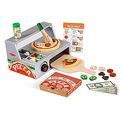 """Melissa & Doug Top and Bake Wooden Pizza Counter Play Food Set (Pretend Play, Helps Support Cognitive Development, 34 Pieces, 7.75"""" H x 9.25"""" W x 13.25"""" L)"""