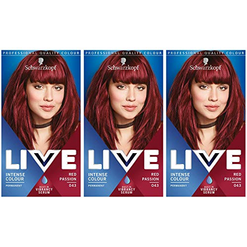 Schwarzkopf Live Intense Colour Hair Dye, Permanent Colour & Built-In Vibrancy Serum – 3x 043 Red Passion