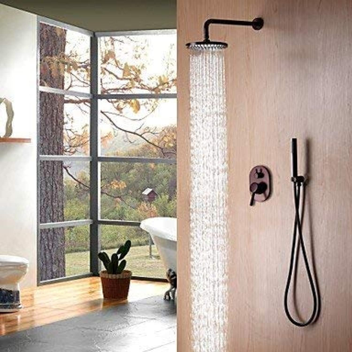 Shower Faucet - Contemporary Simple Modern Style Oil-rubbed Bronze Wall Mounted Ceramic Valve