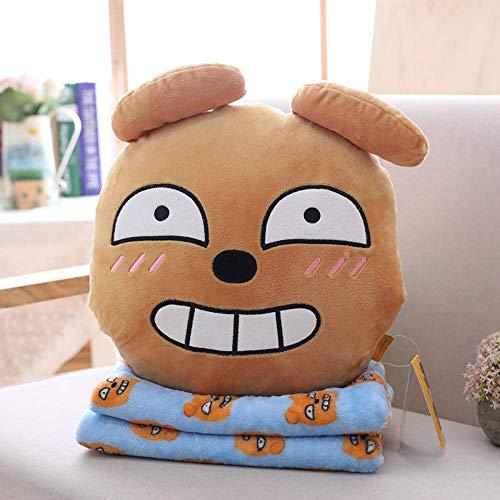 N-B 35cm Lindo León Perro Pato melocotón 2 en 1 Juguete de Felpa Relleno Suave Kawaii Gato Almohada y Manta muñecos para Regalo de cumpleaños de niños
