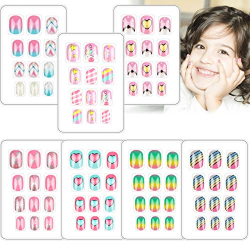 84 PCS Press on Nails for Kids Fake Nails Children Glue-On Cute Short Glitter Gradient Color False Nail Kit Full Cover Artificial Rainbow Mermaid Decoration Christmas for Little Girls Manicure 7 Pack