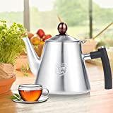 Tetera de estufa de 1.2L, Tetera de estufa de acero inoxidable Tetera Cafetera Tetera Mango de silicona resistente al calor(#1)