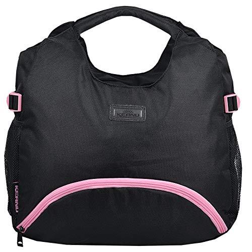 KEANU Yoga Pilates Sporttasche Damen Fitnesstasche Mercy Nassfach Mattenhalter Fitness Sport Shopper Tasche (Black Pink Trims)