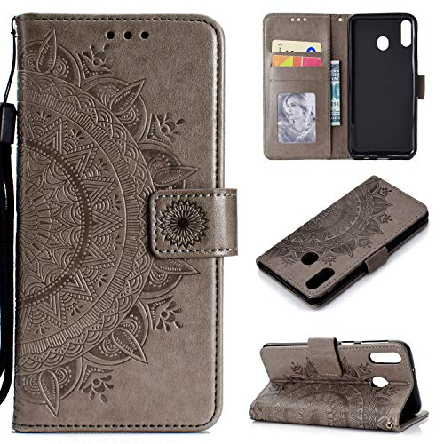 HTDELEC Étui Galaxy A30 Gris Coque, Housse en Cuir Premium Flip Case Portefeuille Etui avec Stand Support et Carte Slot Samsung Galaxy A30(T-Gris)