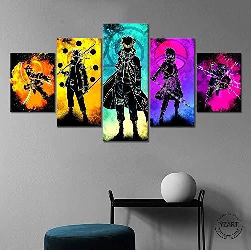 WANGZUO ImpresióN HD Pintura 5 Piezas Naruto Pintura Anime Cuadro En Lienzo, Cuadros Modernos SalóN Decoracion De Pared Canvas Prints, Wall Art Modular Poster Mural Decorativo-150x80CM