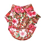 """United Pups Hawaiian Shirt for Dogs Small to Medium Pets Cats Design for Summer Luau Style Beach Camp Vacation Floral Puppy T-Shirt (Cool Pups Red, Size 5: Max Neck 17"""" Chest 31"""") Red Size 5"""
