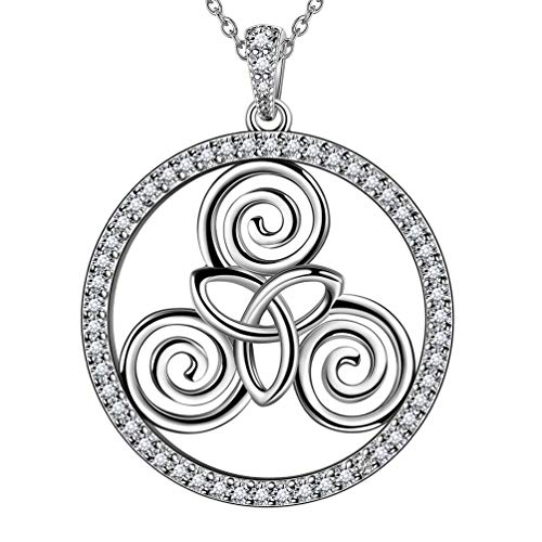 Celtic Triskele Pendant Necklace Solid Sterling Silver Crystal Round Spiral Triskele Triskelion Necklace Women Men Celtic Knot Necklace Jewelry Gift for Wife Girlfriend FP0096W