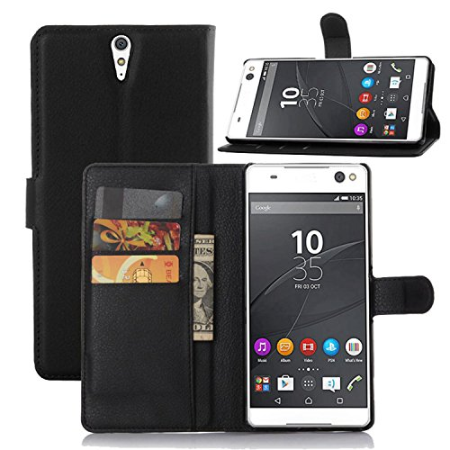 Ycloud Tasche für Sony Xperia C5 Ultra (6 Zoll) Hülle, PU Ledertasche Flip Cover Wallet Hülle Handyhülle mit Stand Function Credit Card Slots Bookstyle Purse Design schwarz