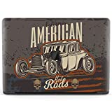 Mertak Hard Case Compatible with MacBook Pro 16 Air 13 inch Mac 15 Retina 12 11 2020 2019 2018 2017 Touch Bar Men Retro Protective American Hot Rod Print Cover Plastic Car Vintage Patriotic Clear