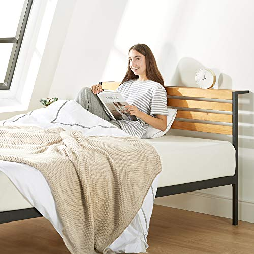 Mellow Kasi Metal Platform Bed with Panel Headboard Shelf, Solid Pine Wood, Easy Assembly, Twin SHPB-KAT