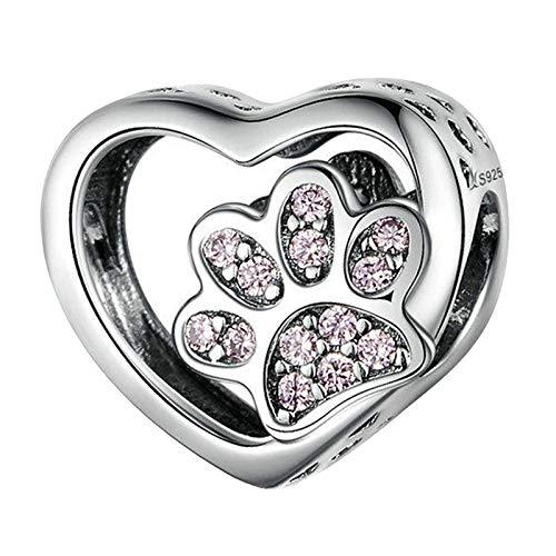 N/A/a Plata Esterlina S925 Perla Rhinestone Zircon Bead Corazón DIY Pulsera Collar