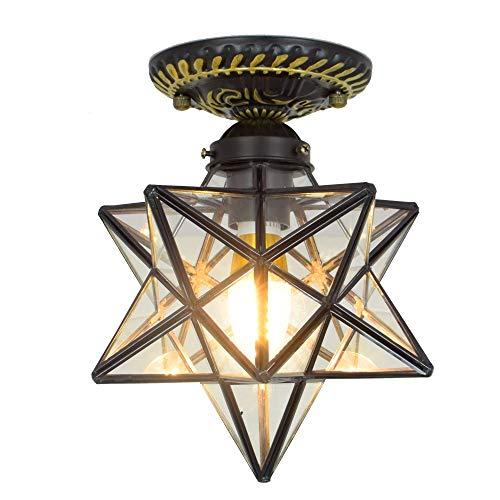 Blivuself Tiffany Estrella de cinco puntas estrella de la lámpara del techo del pasillo corredor nórdico hogar creativo recibidor balcón luces guardarropa Americana