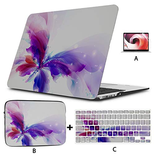 Macbook 15 Cover Butterfly Blue Purple Cyan Blots Laptop Cover Hard Shell Mac Air 11'/13' Pro 13'/15'/16' With Notebook Sleeve Bag For Macbook 2008-2020 Version