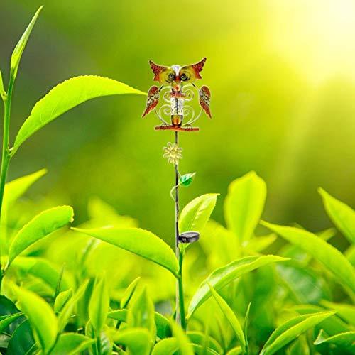 Homeatk Regenmesser für Garten, Solarbetrieben Metall Eule Gartenstecker Niederschlagsmesser mit LED Licht Gartenbeleuchtung Deko