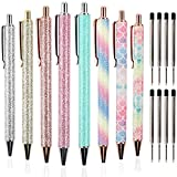 JPSOR 8pcs Glitter Cute Ballpoint Pens for Women, Sparkly Rose Gold Click Ball Pens, Metal Retractable Pen, With 8 pcs Replacement Refills, Black Ink, Medium Point 1mm, School and Office Supplies
