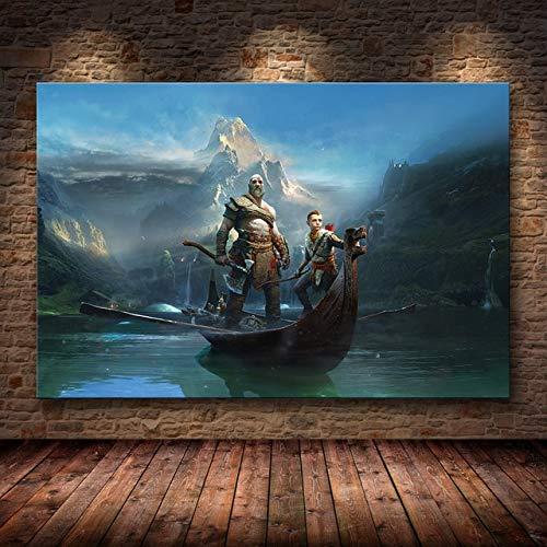 JMHomeDecor Póster E Impresiones De Juegos De Personajes En HD De God of War, Pintura En Lienzo, Cuadros Artísticos De Pared, Decoración del Hogar, 50X70Cm -Sn1408