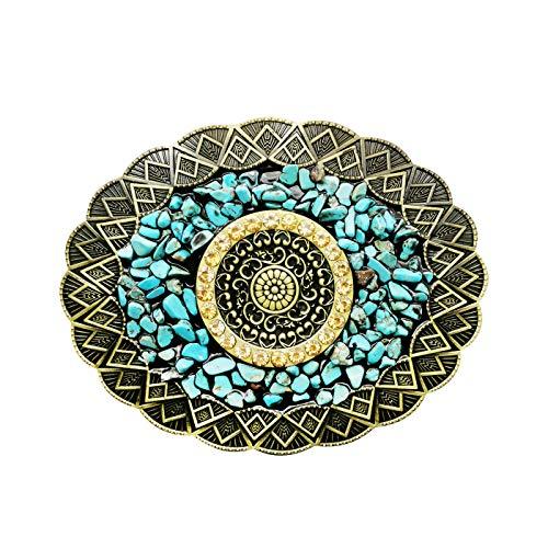 YOQUCOL Vintage Bronze Bohemian Indian Style Belt Buckle Light weight Turquoise Gravel Belt Buckle For Women Men