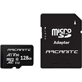 ARCANITE 128GB MicroSDXC Memory Card with Adapter - UHS-I U3, A1, V30, 4K, C10, Micro SD - AKV30A1128