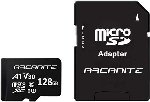 ARCANITE 128 Go Carte Mémoire microSDXC avec adaptateur SD - A1, UHS-I U3, V30, 4K, C10, microSD, Vitesse de lecture ...