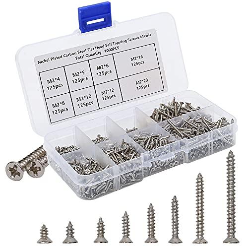 Vis bois, 1000pcs Autotaraudeuse Vis Assortiment Kit, vis autotaraudeuses Phillips à tête plate vis bricolage vis à boi, (M2-4mm 5mm 6mm 8mm 10mm 12mm 16mm 20mm)