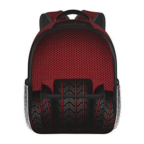 RTUBNSD Kinderrucksack Autoreifen Reifen Rot, Kindergarten Vorschul Tasche Schultasche für Kleinkinder Mädchen Jungen